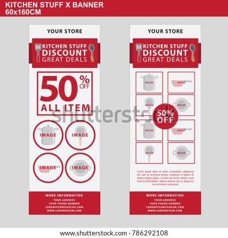 kitchen stuff on sale small remodel ideas banner discount 50 stock vector royalty free of with all item template