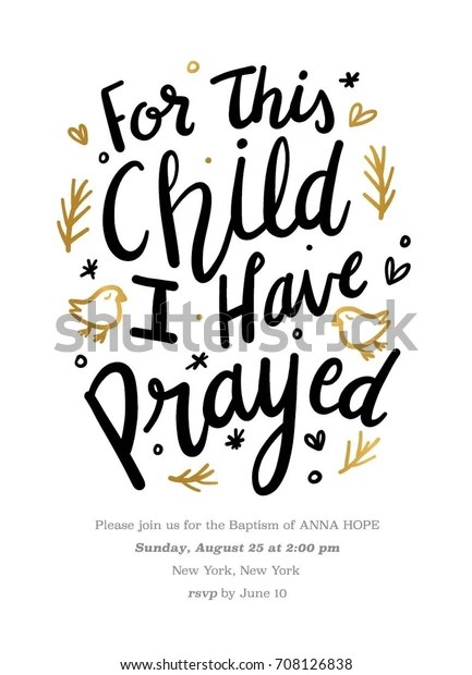 Baptism Invitation Hand Drawn Texts This Stock Vector