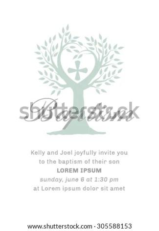 Baptism Invitation Illustration Template Stock Vector