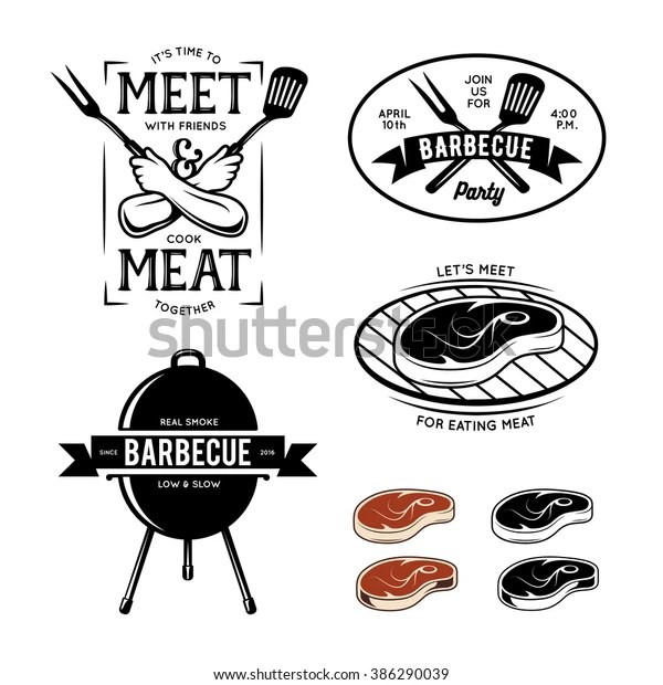 Barbecue Related Labels Badges Design Elements Stock