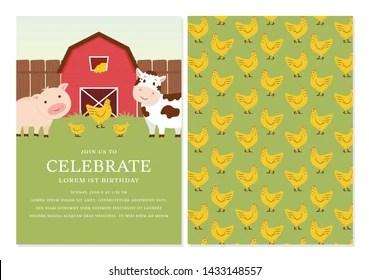 https www shutterstock com image vector barnyard birthday invitation template design back 1433148557