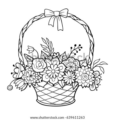 Basket Flowers Handle Decorated Ribbon Bow Stock Vector
