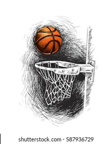 Basketball Hoop Drawing : basketball, drawing, Basketball, Sketch, Stock, Images, Shutterstock