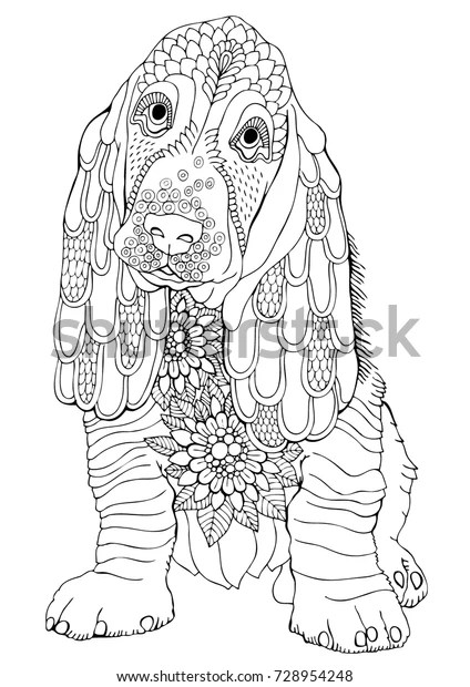 Basset Hand Drawn Dog Sketch Antistress Stock Vector