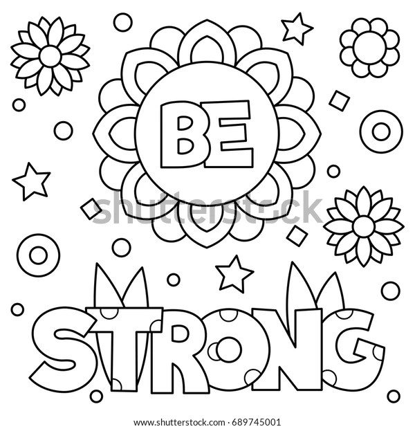 Be Strong Coloring Page Vector Illustration Stock Vector