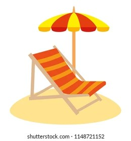 beach chair and umbrella clipart butterfly covers canada set objects stock vector royalty free with