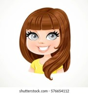 brunette cartoon stock
