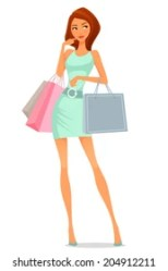 Women Shopping Cartoon Images Stock Photos & Vectors Shutterstock