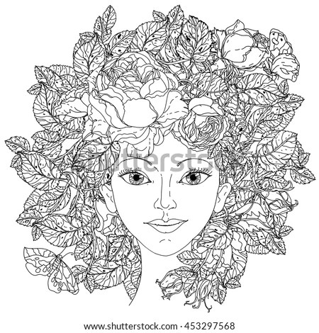 Beautiful Fashion Woman Abstract Hair Flowers Vector de
