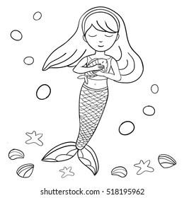 mermaid outline mermaid images