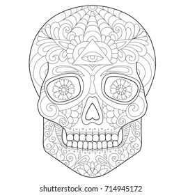 Halloween Skull Coloring Page Images Stock Photos Vectors Shutterstock