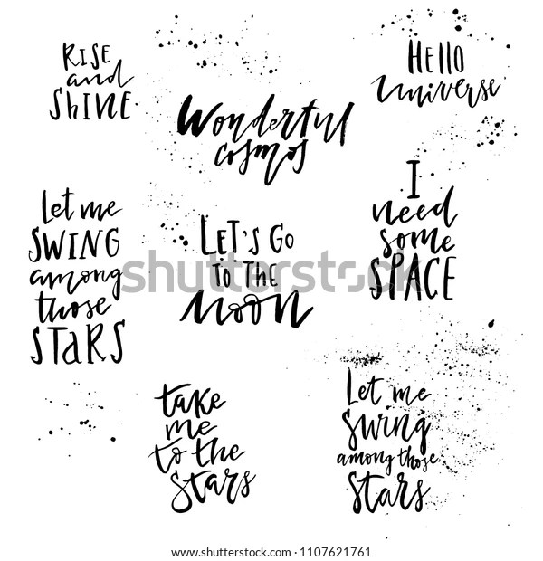 Big Set Hand Drawn Lettering Quotes Stock Vector (Royalty