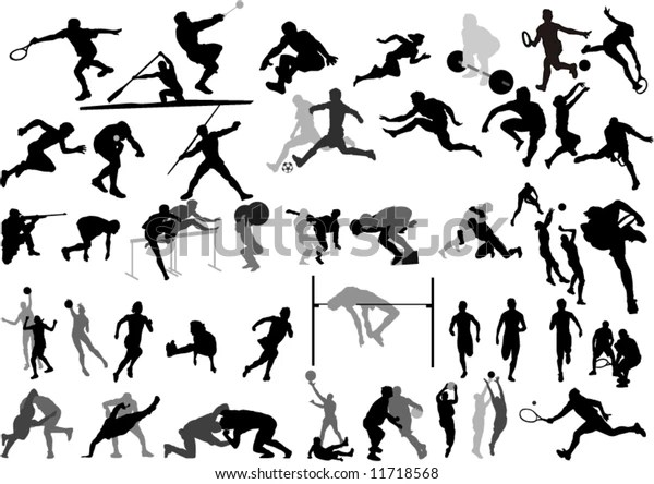 Big Sport Collection Vector Silhouettes Stock Vector