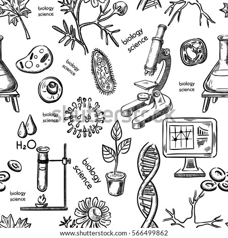 Biological Science Hand Drawing Seamless Stock Vector