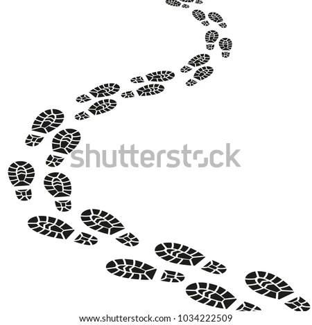 Black Footprints Silhouette Pathway Pattern Men Stock