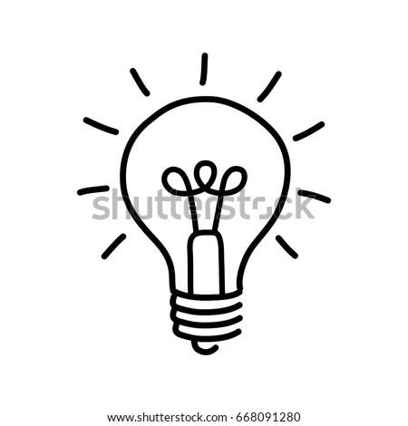 Black Lightbulb Drawing On White Background Stock Vector