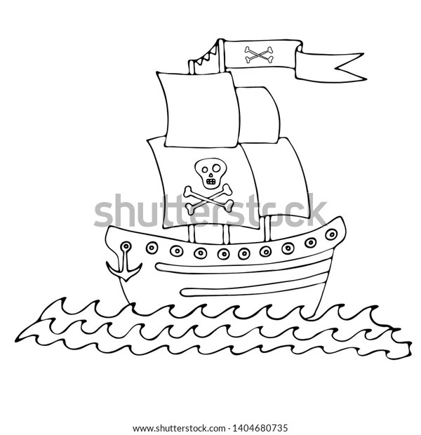 Black Line Pirate Ship Coloring Book Stock Vector Royalty Free 1404680735