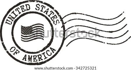 Black Postal Grunge Stamp United States Stock Vector