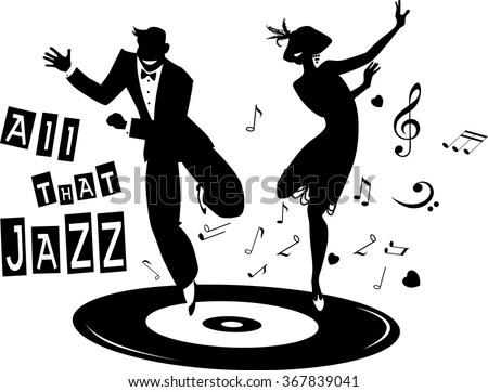 Black Vector Silhouette Couple Dressed 1920 S Stock Vector