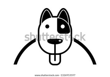 Black White Cartoon Dog Tongue Stock Vector Royalty Free 1326953597