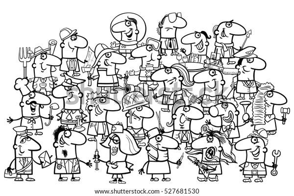 Black White Cartoon Illustration Professional People Stock