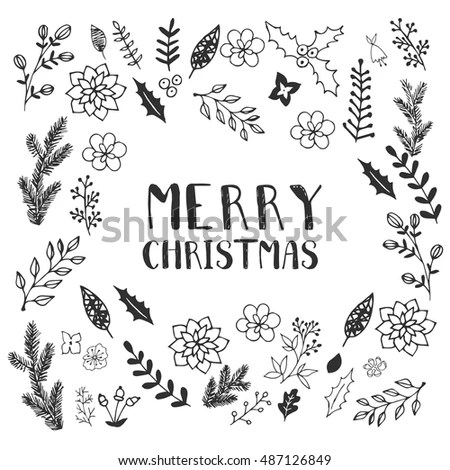 Black White Christmas Greeting Card Template Stock Vector