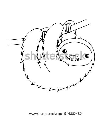 Black White Cute Cartoon Sloth Hanging Stock Vector