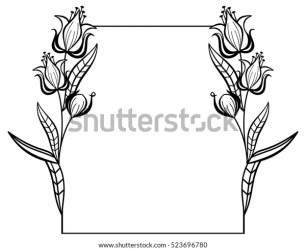 Black White Frame Outline Decorative Flowers Stock Vector Royalty Free 523696780