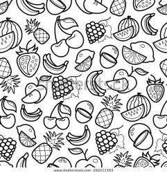 Black White Line Art Fruit Icons Stock Vector Royalty Free 282611183