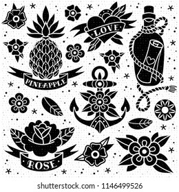 Traditional Tattoo Flash Black And White