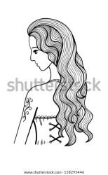 Black White Outline Girl Illustration Stock Vector Royalty Free 158295446