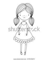 Black White Outline Portrait Girl Coloring Stock Vector Royalty Free 1478198870
