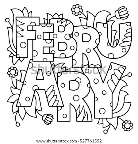 Black White Vector Illustration February Coloring Stock