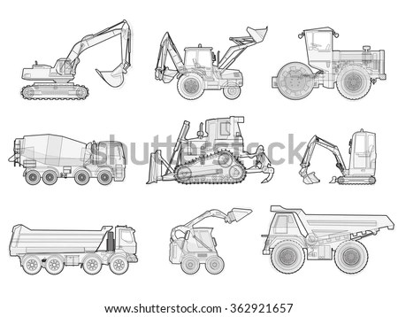 Black White Wire Big Set Ground Stock Vector (Royalty Free