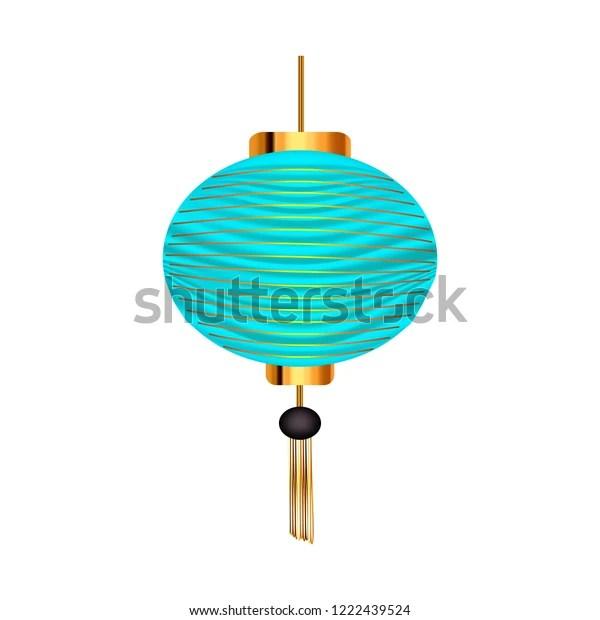 blue chinese lantern vector