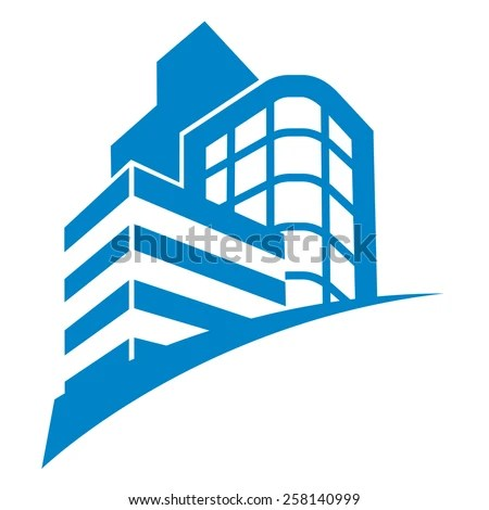 Blue Modern Office Building Icon On Stock Vector (Royalty Free) 258140999 - Shutterstock