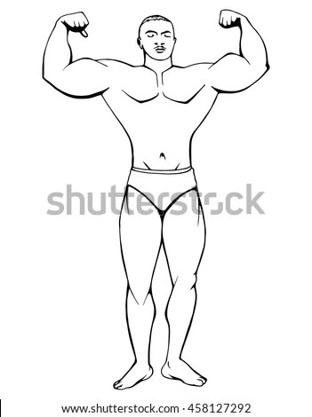 Bodybuilding Muscular Man Athlete Strong Man Stock Vector