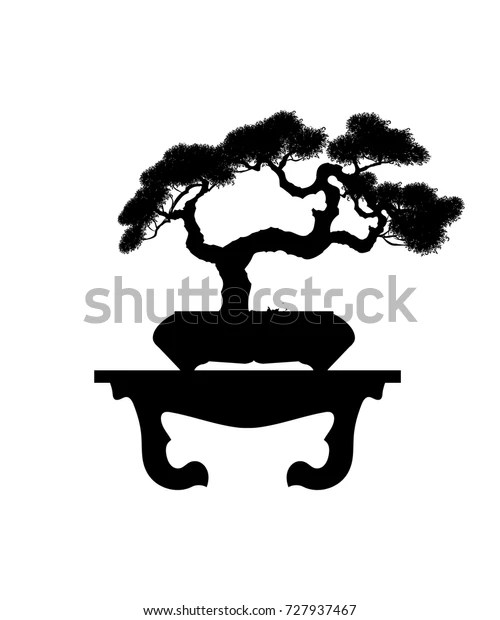 Bonsai Silhouette : bonsai, silhouette, Bonsai, Black, Silhouette, Detailed, Stock, Vector, (Royalty, Free), 727937467