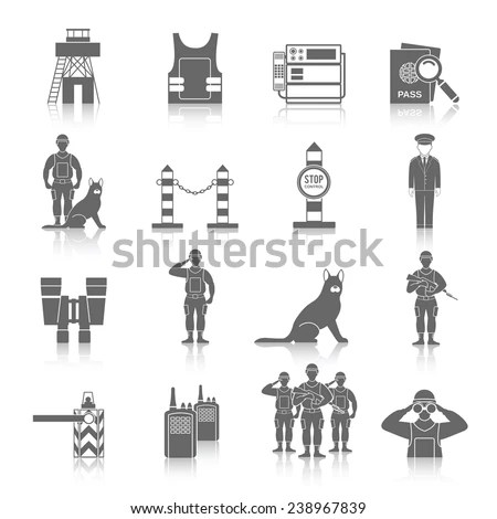 Border Guard Icon Black Set Frontier Stock Vector (Royalty