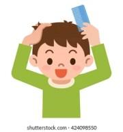 combing hair stock