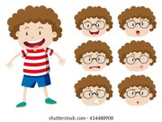 curly haired man cartoon - short