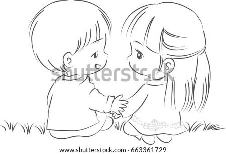 Boy Girl Cartoon Vector Drawing Stock Vector (Royalty Free