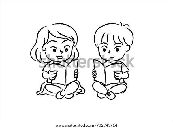 Boy Girl Reading Books เวกเตอร์สต็อก (ปลอดค่าลิขสิทธิ์