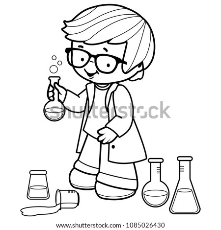 Boy Making Science Experiments Black White Stock Vector
