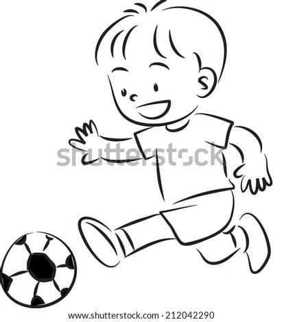 Boy Play Football Image vectorielle de stock (libre de