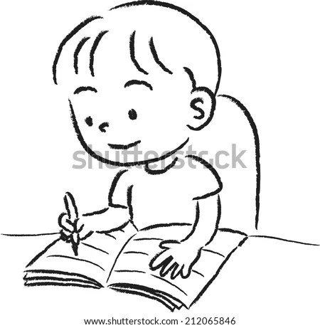 Boy Writing Stock Vector (Royalty Free) 212065846