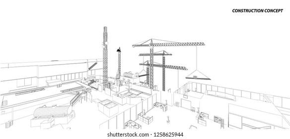 Sketch Construction Site Images, Stock Photos & Vectors