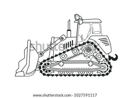 Bulldozer Side View Coloring Book Line Stock Vector