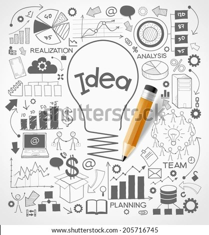 Business Doodles Icons Set Concept Productive Stock Vector