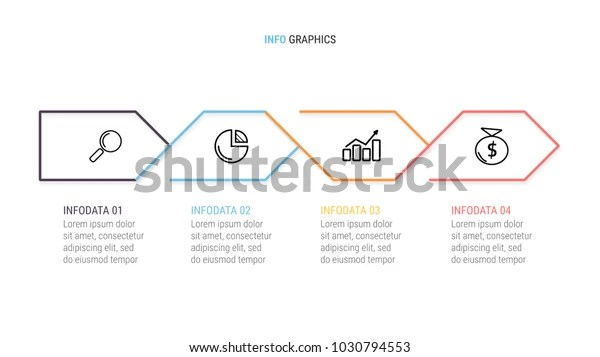 Business Infographictimeline 4 Options Steps Arrows Stock